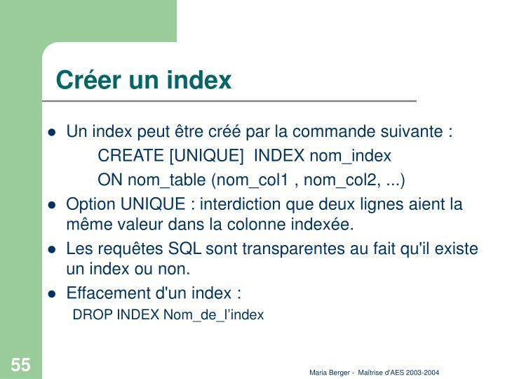 Créer un index