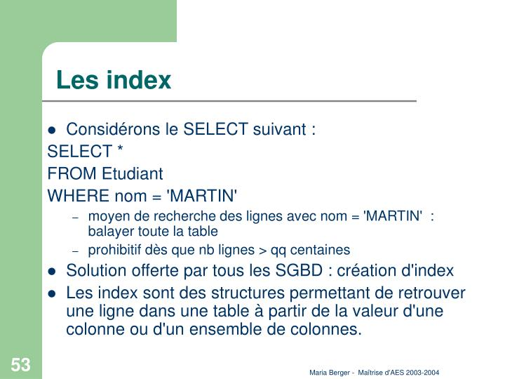 Les index