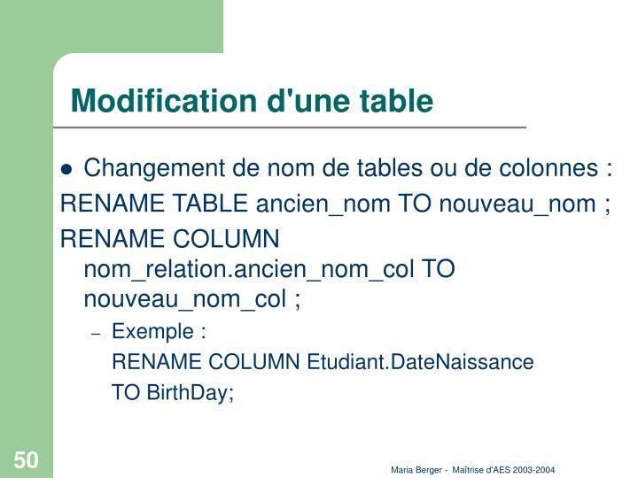 Modification d'une table