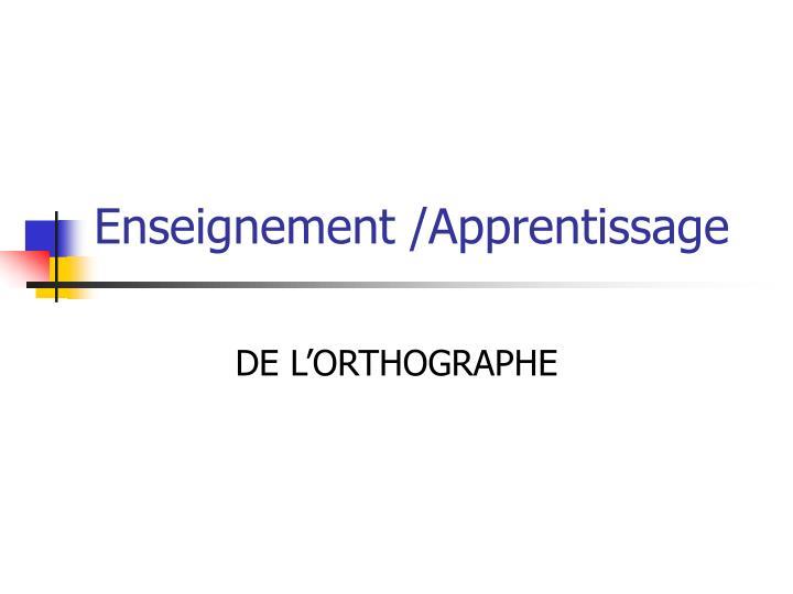 Enseignement /Apprentissage