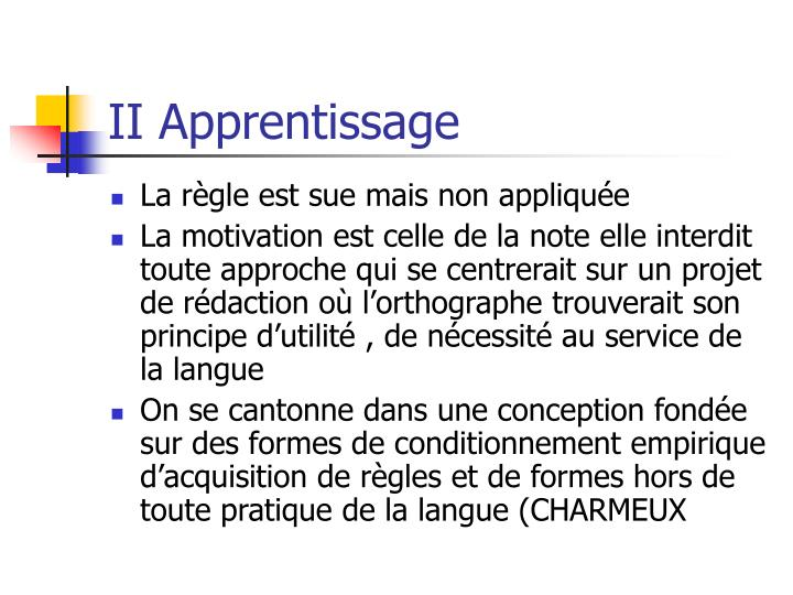 II Apprentissage