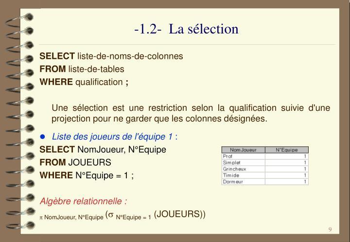 -1.2-  La sélection