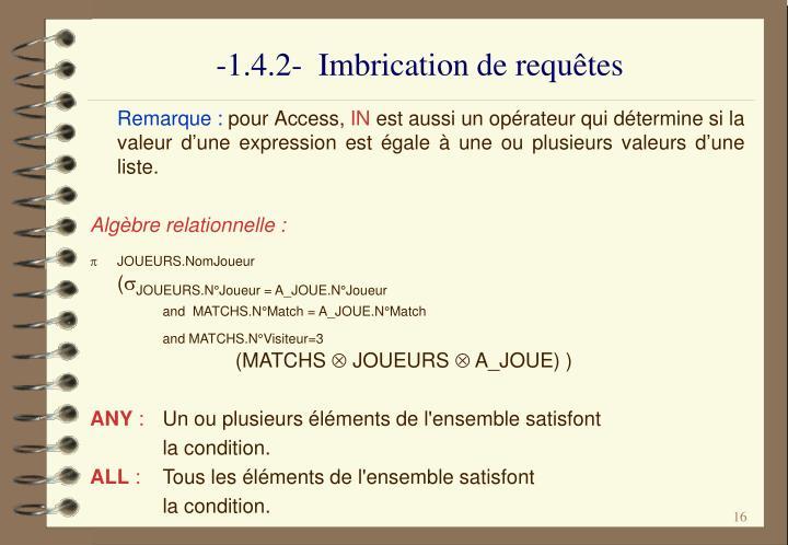 -1.4.2-  Imbrication de requêtes