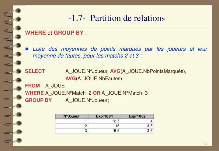 -1.7-  Partition de relations