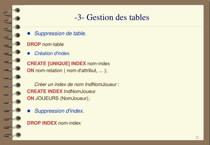 -3- Gestion des tables