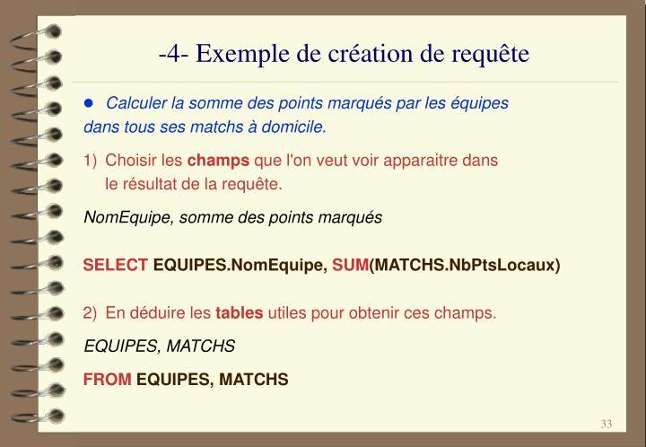 -4- Exemple de création de requête