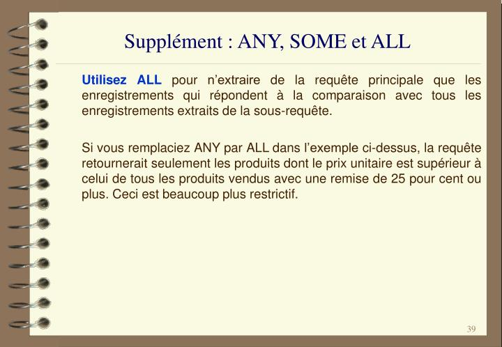 Supplément : ANY, SOME et ALL