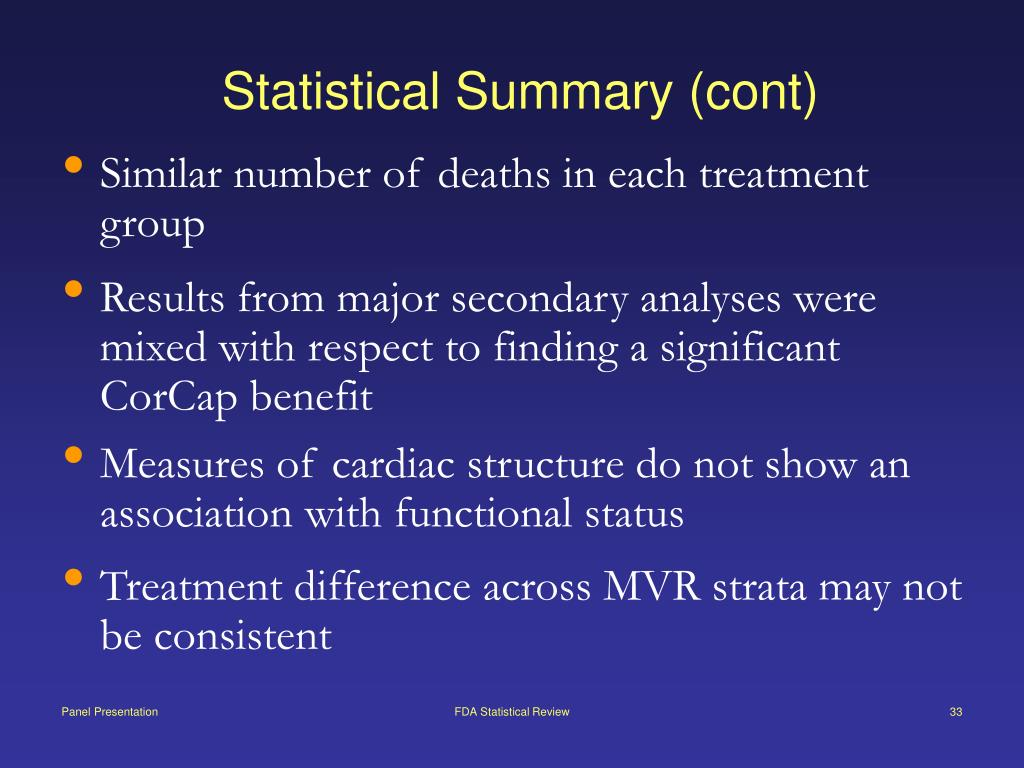 Statistical Summary (cont)