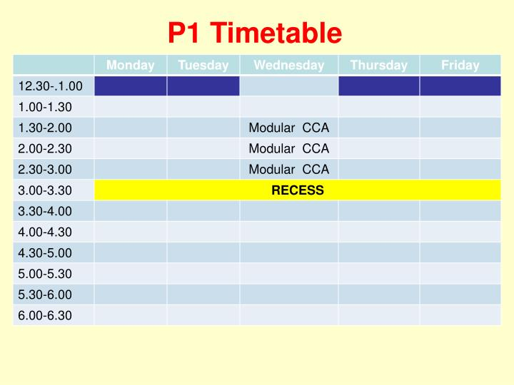 P1 Timetable