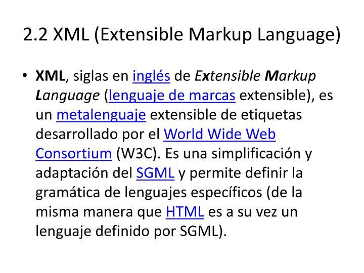 2.2 XML (Extensible