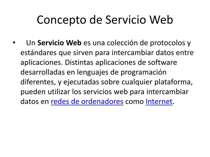 Concepto de Servicio Web