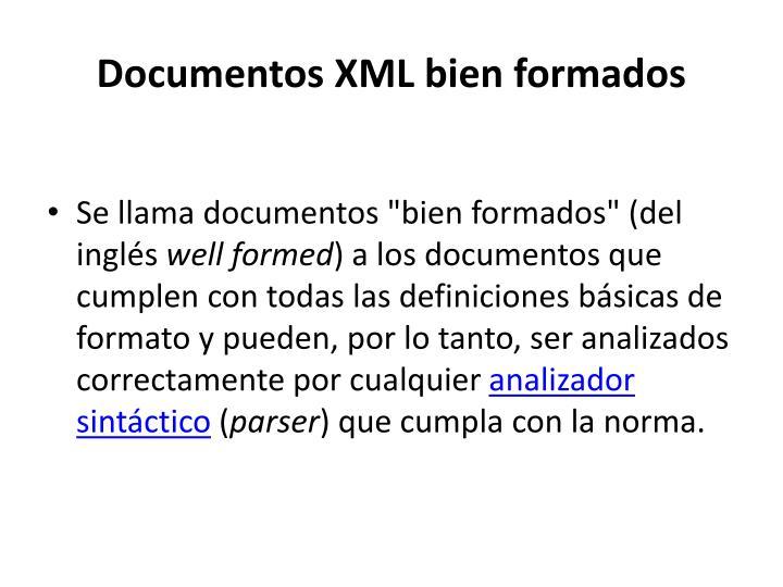 Documentos XML bien formados