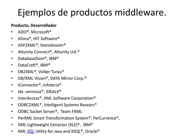 Ejemplos de productos middleware.
