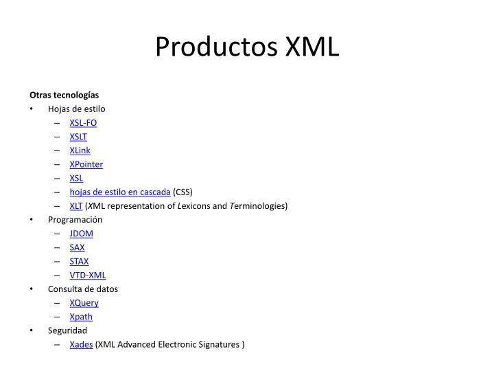 Productos XML