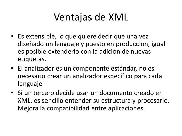 Ventajas de XML
