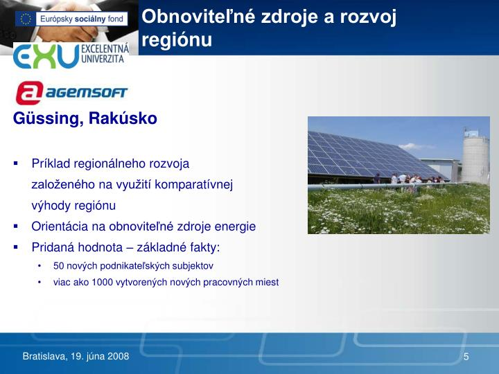 Obnoviteľné zdroje a rozvoj regiónu