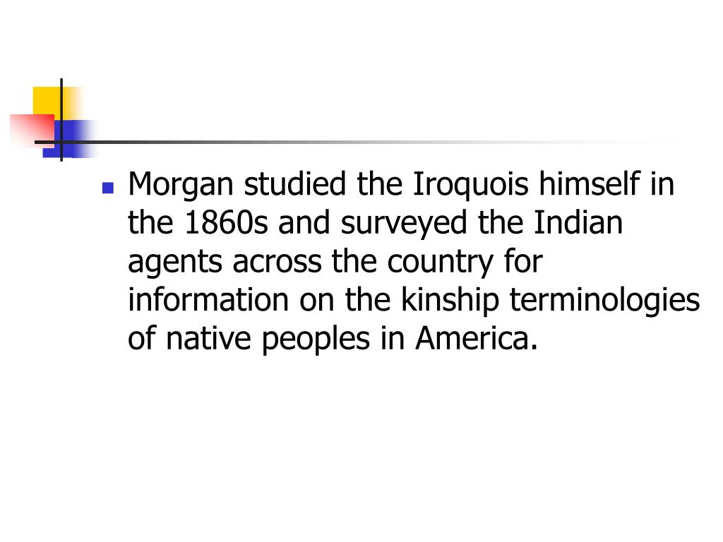Morgan studied the Iroquois himself in the 1860s and surveyed the Indian agents across the country for information on the kinship terminologies of native peoples in America.