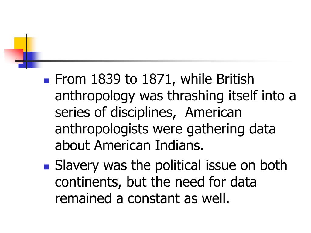 From 1839 to 1871, while British anthropology was thrashing itself into a series of disciplines,  American anthropologists were gathering data about American Indians.