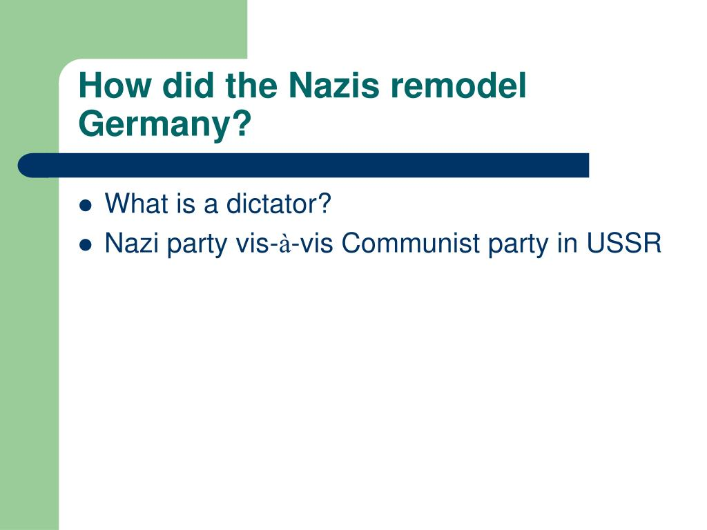 How did the Nazis remodel Germany?