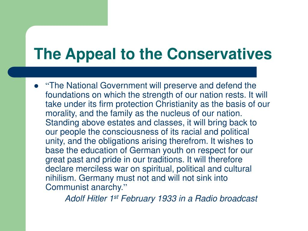 The Appeal to the Conservatives