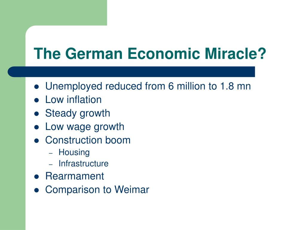 The German Economic Miracle?