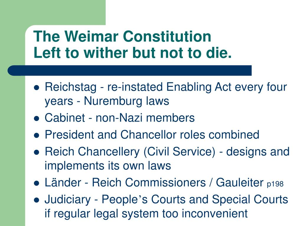 The Weimar Constitution