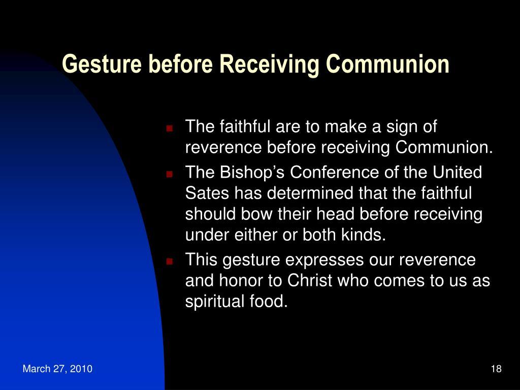 Gesture before Receiving Communion