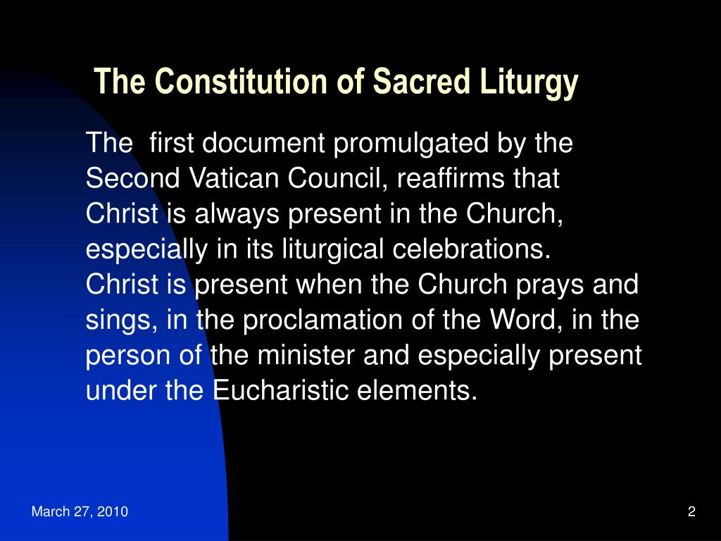 The Constitution of Sacred Liturgy