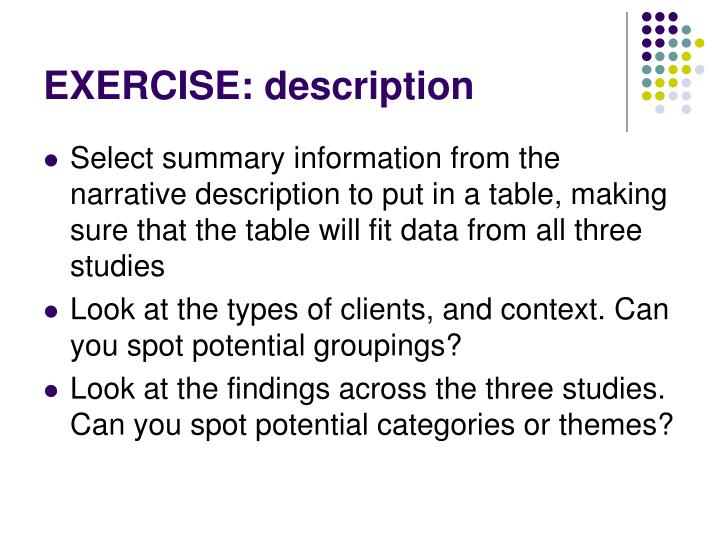 EXERCISE: description