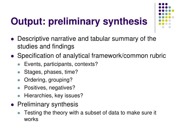 Output: preliminary synthesis