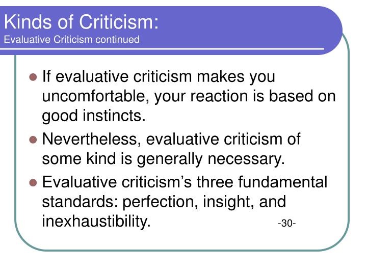 Kinds of Criticism: