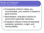 kinds of criticism evaluative criticism continued