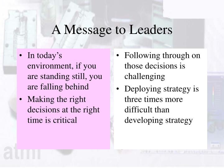 A message to leaders