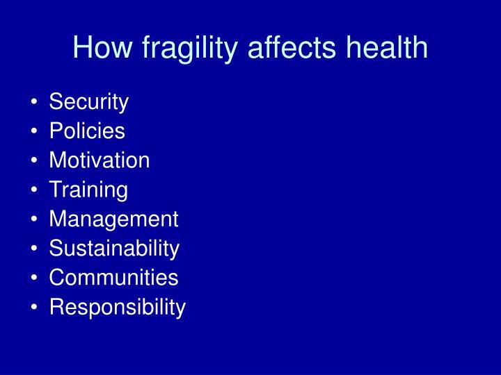 How fragility affects health