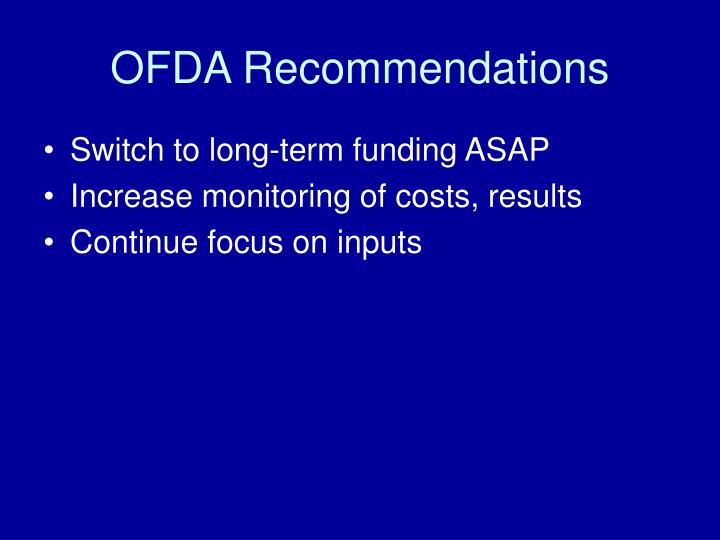 OFDA Recommendations
