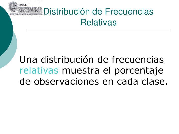 Distribución de Frecuencias Relativas