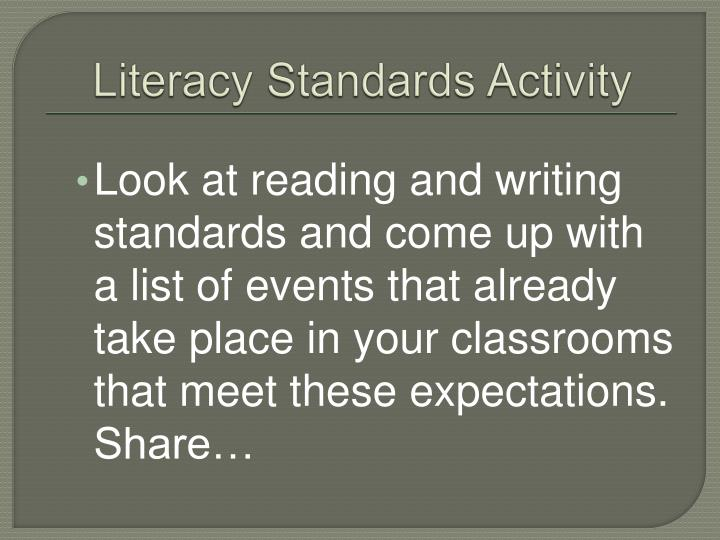 Literacy Standards Activity