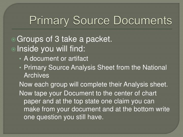 Primary Source Documents