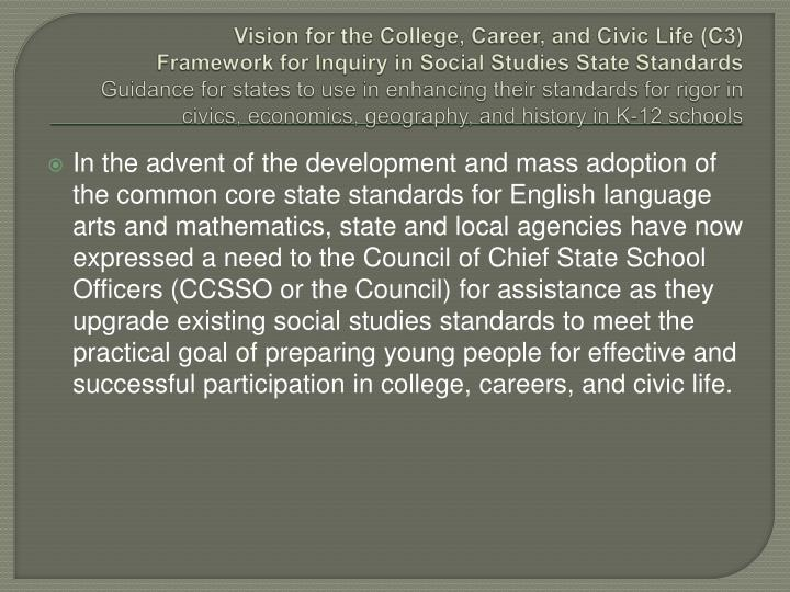 Vision for the College, Career, and Civic Life (C3)