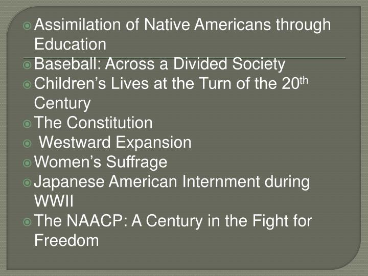 Assimilation of Native Americans through Education