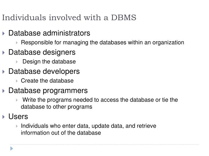 Individuals involved with a DBMS