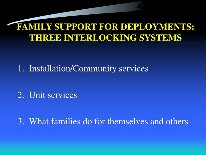 FAMILY SUPPORT FOR DEPLOYMENTS: THREE INTERLOCKING SYSTEMS