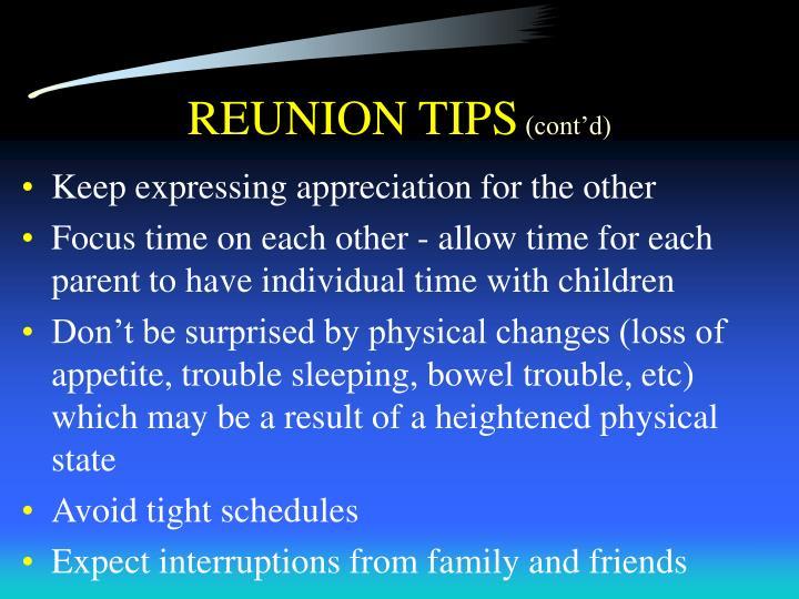 REUNION TIPS