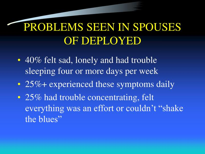 PROBLEMS SEEN IN SPOUSES OF DEPLOYED