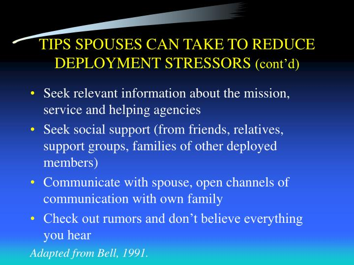 TIPS SPOUSES CAN TAKE TO REDUCE DEPLOYMENT STRESSORS