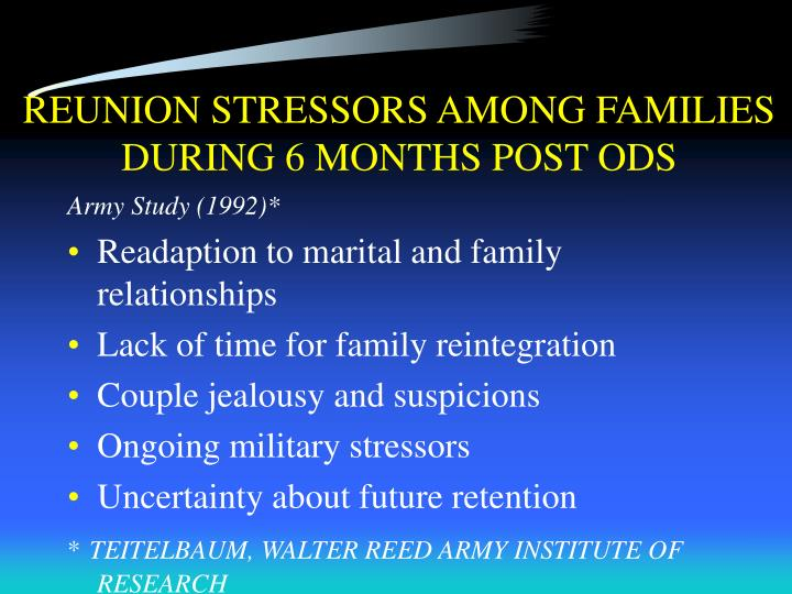 REUNION STRESSORS AMONG FAMILIES DURING 6 MONTHS POST ODS