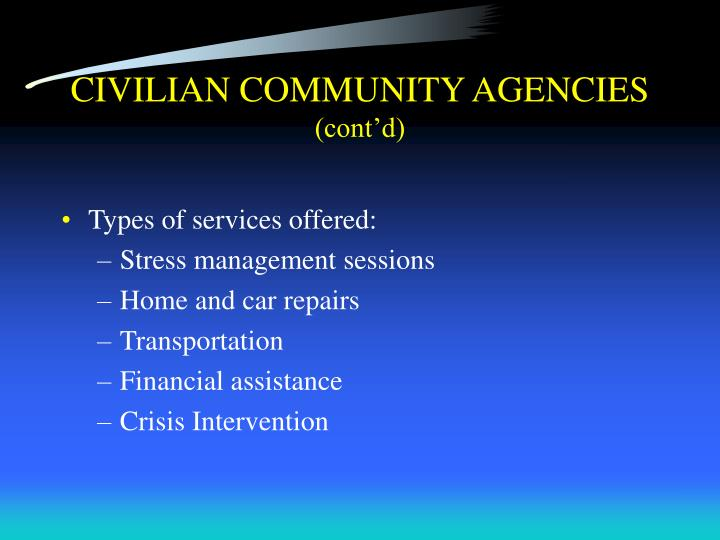 CIVILIAN COMMUNITY AGENCIES