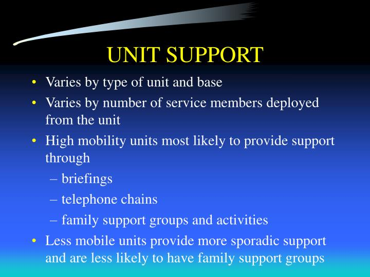 UNIT SUPPORT