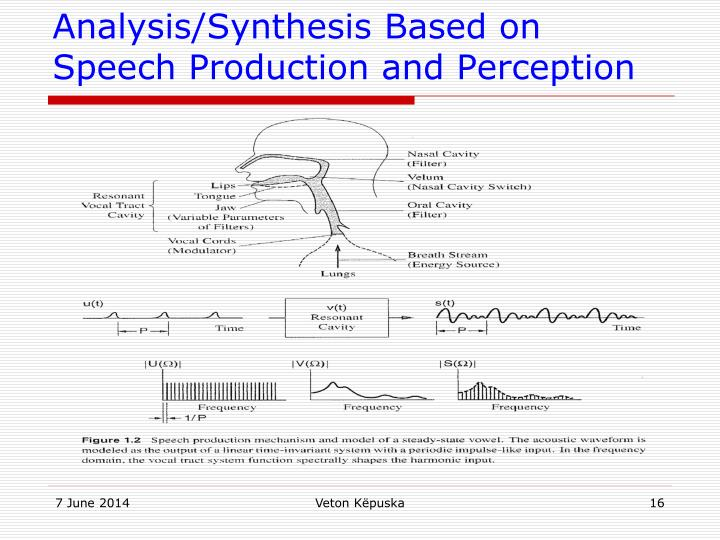Analysis/Synthesis Based on Speech Production and Perception