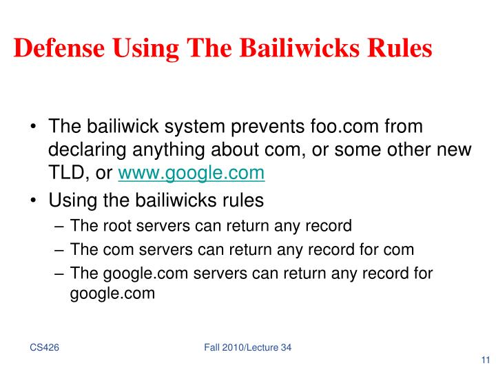 Defense Using The Bailiwicks Rules